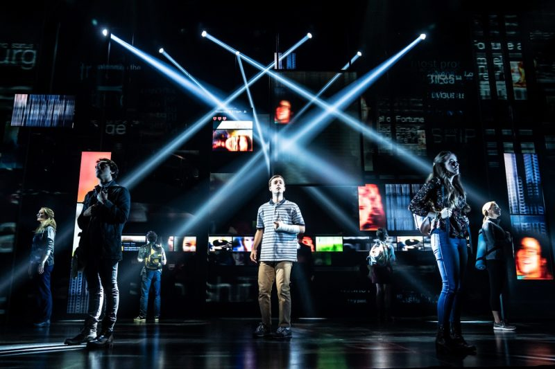 1- Stephen Christopher Anthony as 'Evan Hansen' and the North American touring company of DEAR EVAN HANSEN. Photo by Matthew Murphy, 2019
