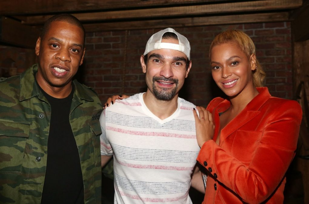 Jay Z and Beyonce at Hamilton with Javier - photo - Bruce Glikas - 2/17